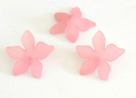 30 Frosted Acrylic lucite Flower Beads 27mm Pink